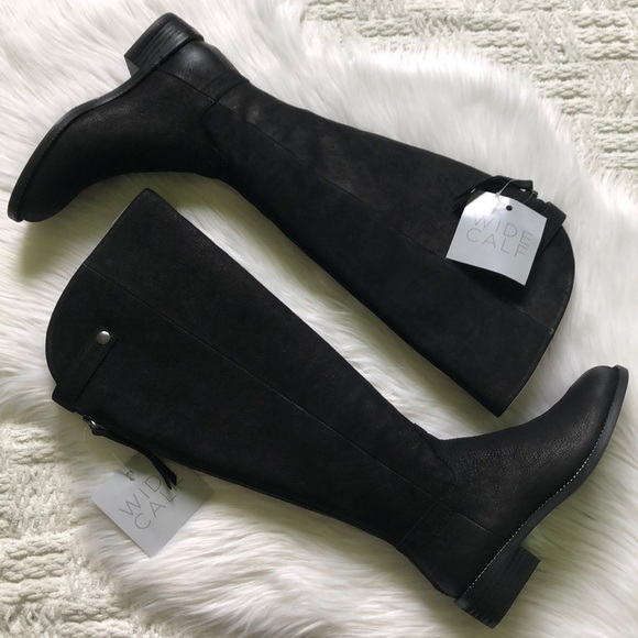 896a065f1f5a Franco Sarto Wide Calf Black Brindley Riding Boot